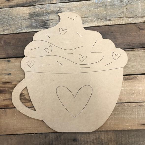 Heart Mug Cutout, Unfinished Shape, Paint by Line