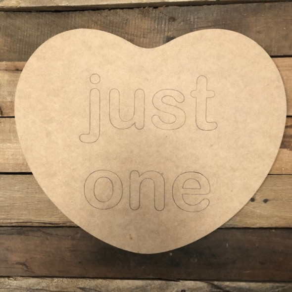 Just One Heart Cutout, Unfinished Shape, Paint by Line