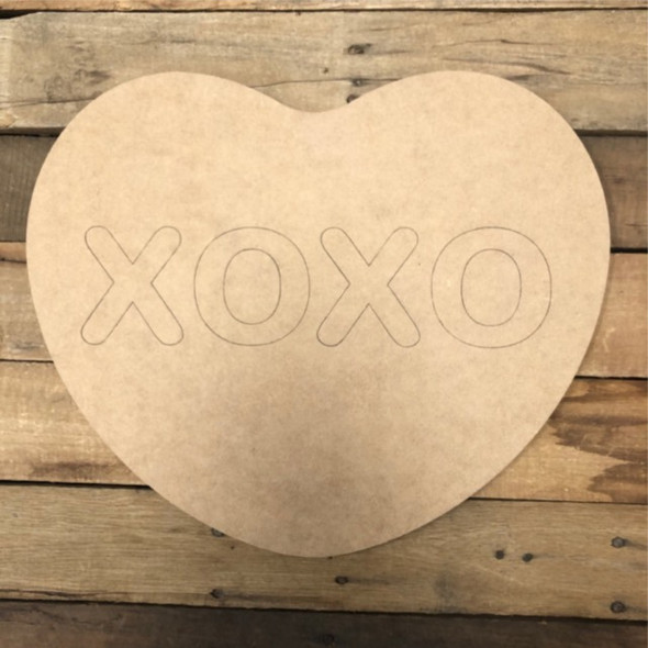 XOXO Heart Cutout, Unfinished Shape, Paint by Line