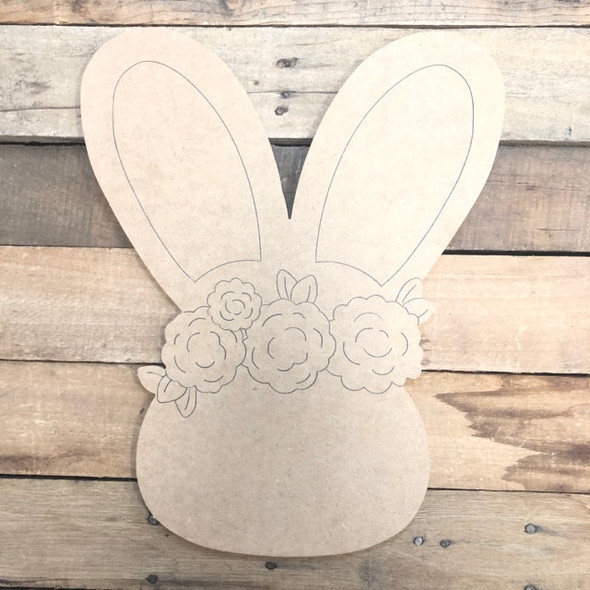 Easter Bunny with Flowers Wood Cutout, Shape, Paint by Line