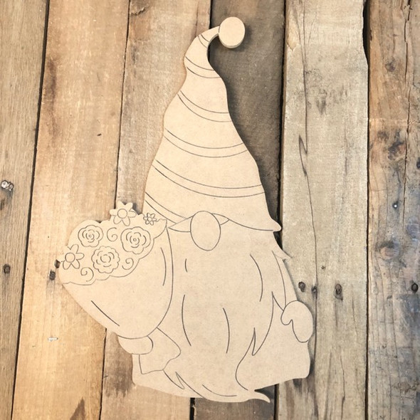 Gnome Holding Flowers Wood Cutout, Shape, Paint by Line