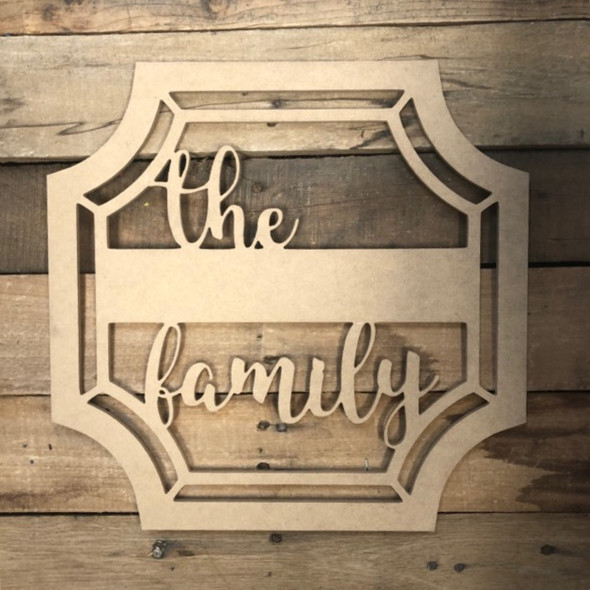 The Family Blank Square Frame Wooden - Unfinished  DIY Craft