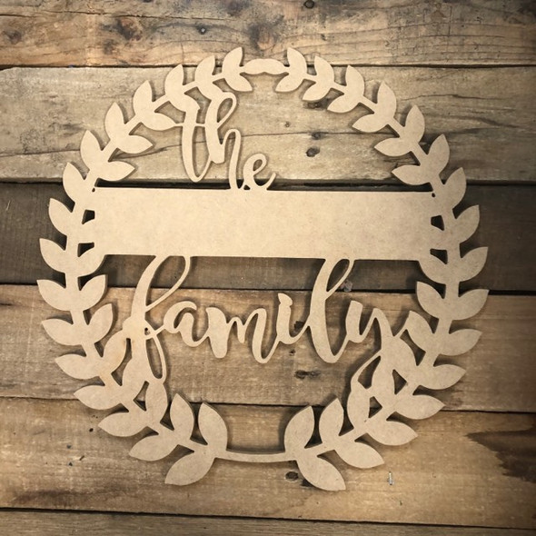 The Family Blank Wreath Frame Wooden - Unfinished  DIY Craft