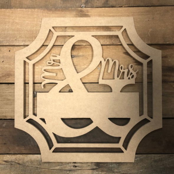 Mr & Mrs Blank Square Frame Wooden - Unfinished  DIY Craft