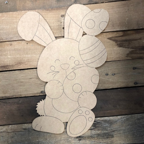 Bunny Holding Easter Eggs,  Wood Cutout, Shape, Paint by Line