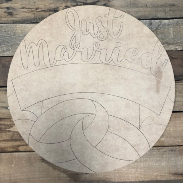 Just Married Newlywed Circle,  Wood Cutout, Shape Paint by Line