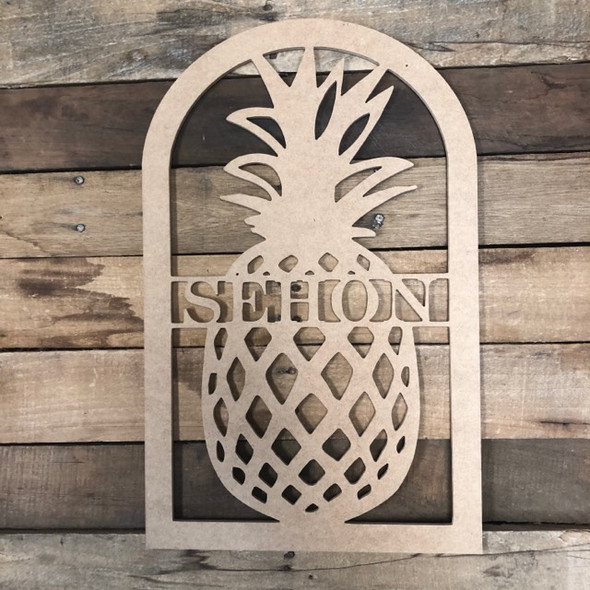Pineapple Frame Family Name, Unfinished Framed Monogram