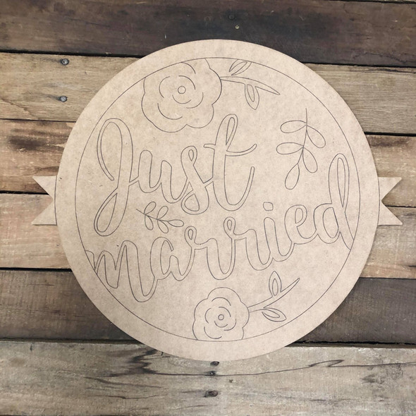 Just Married Circle,  Wood Cutout, Shape Paint by Line