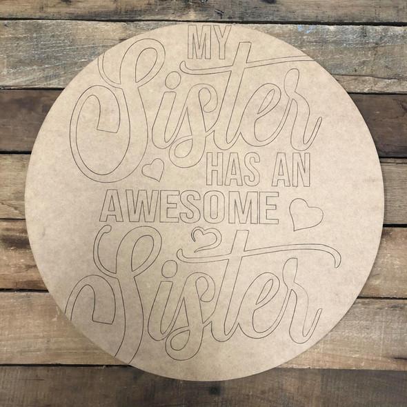 Sister Circle,  Wood Cutout, Shape Paint by Line