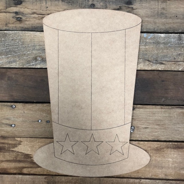 Uncle Sam Hat,  Wood Cutout, Shape Paint by Line