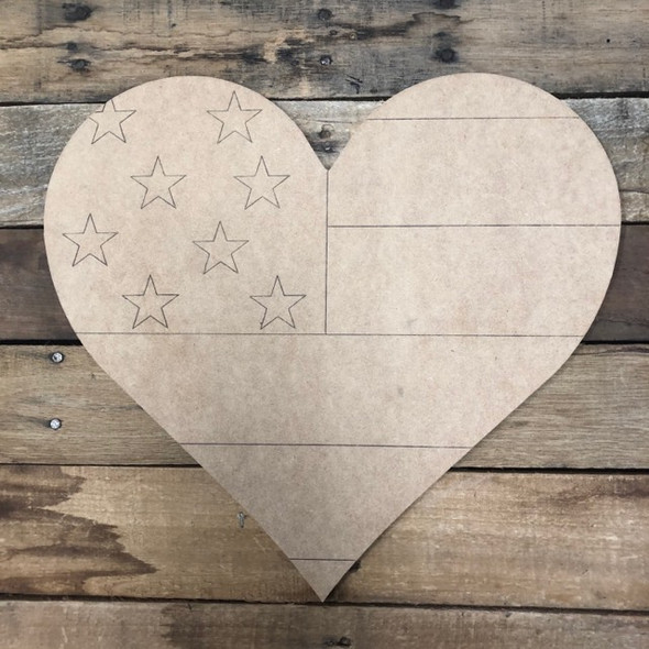 Patriotic Heart ,  Wood Cutout, Shape Paint by Line