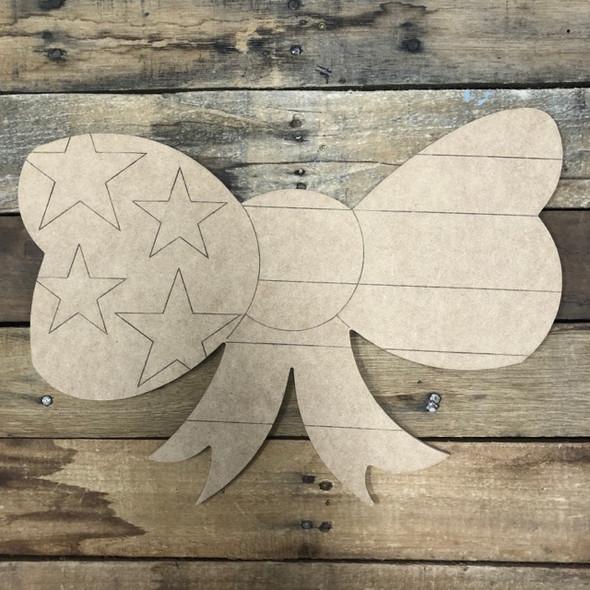 Patriotic Bow, Wood Cutout, Shape Paint by Line
