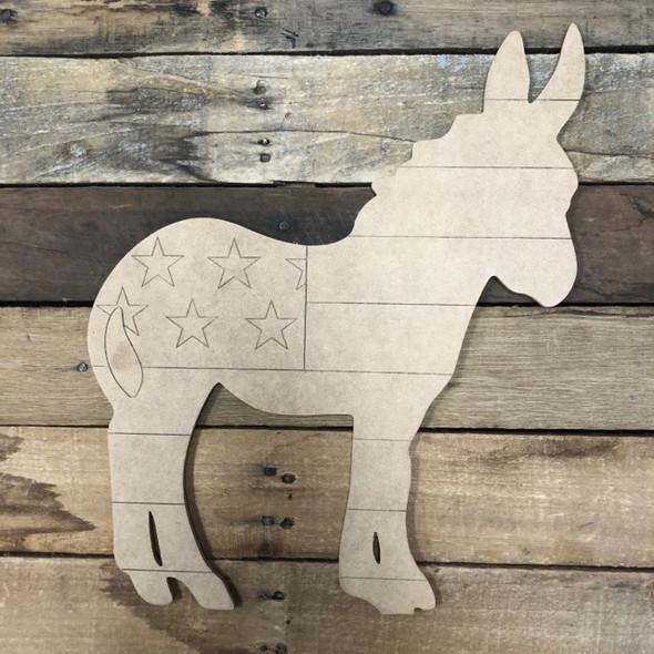 Patriotic Donkey, Wood Cutout, Shape Paint by Line