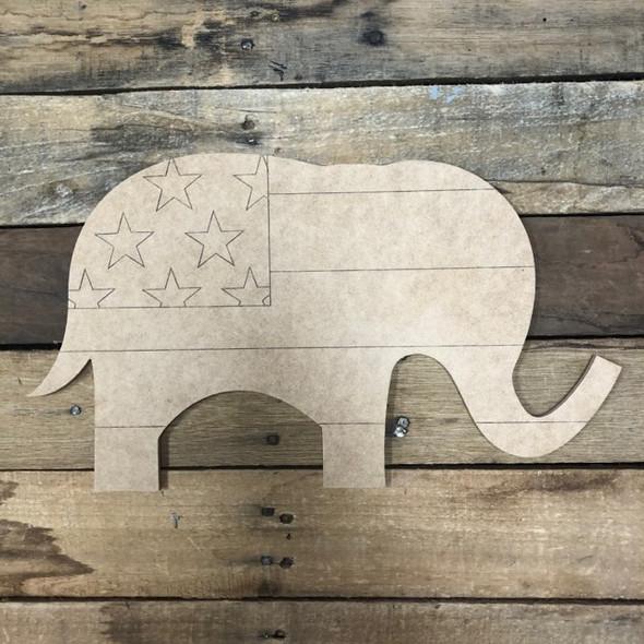 Patriotic Elephant, Wood Cutout, Shape Paint by Line