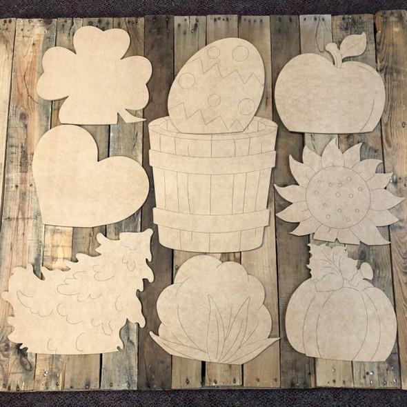 Barrel Seasonal Set Wood Cutout, Unfinished, Paint by Line