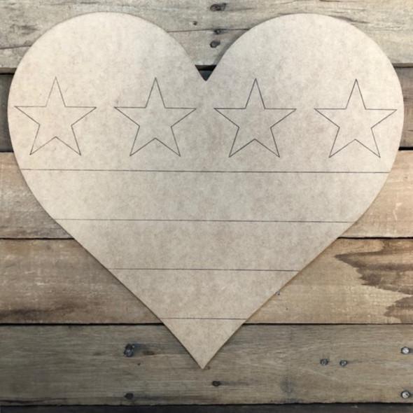 Patriotic Heart, Wood Cutout, Shape Paint by Line