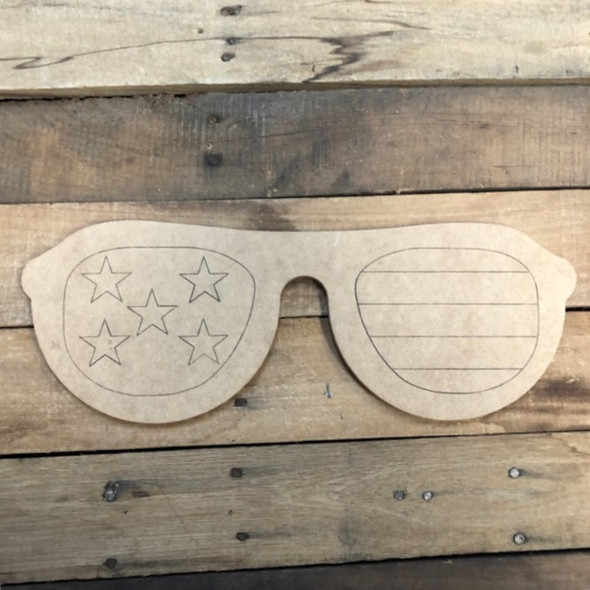 Patriotic Sunglasses, Wood Cutout, Shape Paint by Line