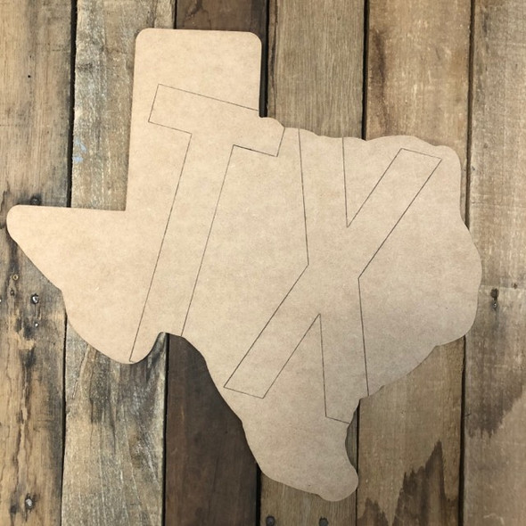 TX Texas Cutout, Unfinished Wall Decor Paint by Line