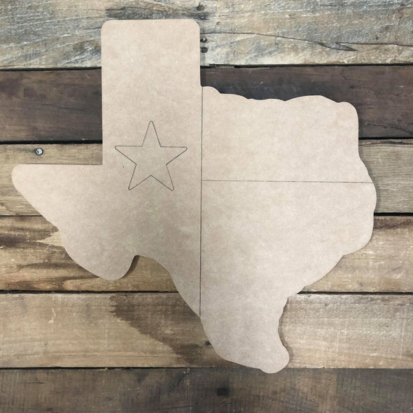 Texas with Star Cutout, Unfinished Wall Decor Paint by Line