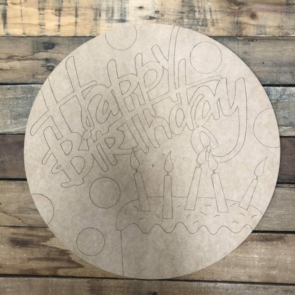 Happy Birthday Circle, Wood Cutout, Shape Paint by Line