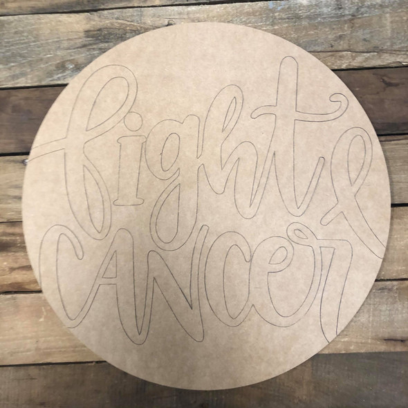 Fight Cancer Circle, Wood Cutout, Shape Paint by Line