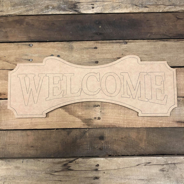 Welcome Plaque, Wood Cutout, Shape Paint by Line