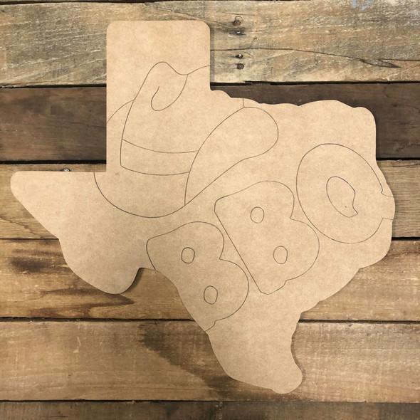 Texas BBQ, Wood Cutout, Shape Paint by Line