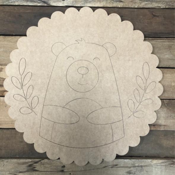 Bear Circle Shape, Wood Cutout, Shape Paint by Line
