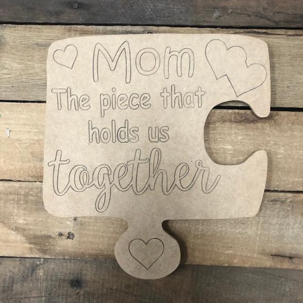 Mom Puzzle, Wood Cutout, Shape Paint by Line