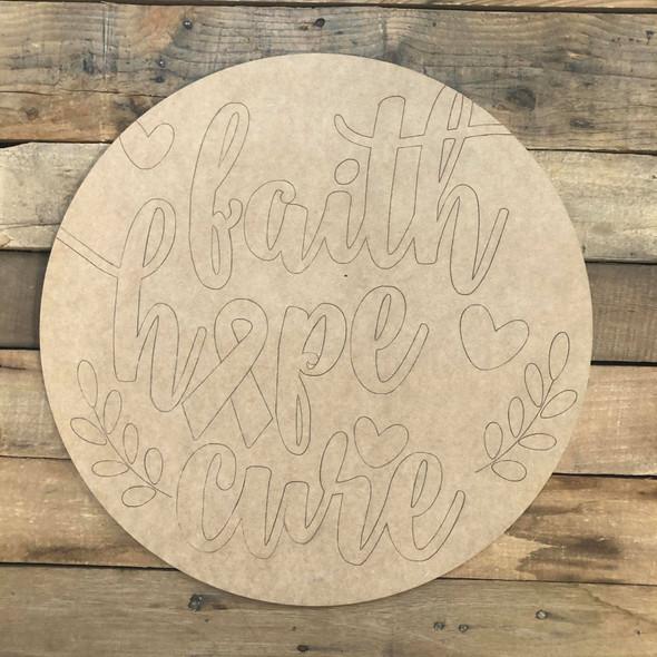 Faith, Hope, Cure, Wood Cutout, Shape Paint by Line
