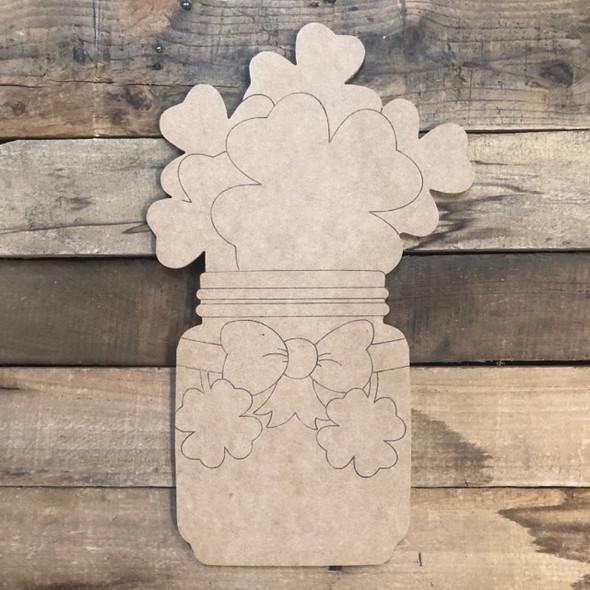 Shamrocks in Mason Jar, Wood Cutout, Shape Paint by Line