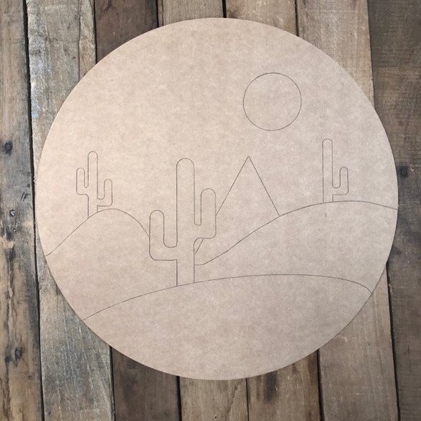 Desert Circle Cutout, Unfinished Wall Decor Paint by Line