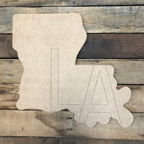 LA Louisiana State Cutout, Unfinished Wall Decor Paint by Line