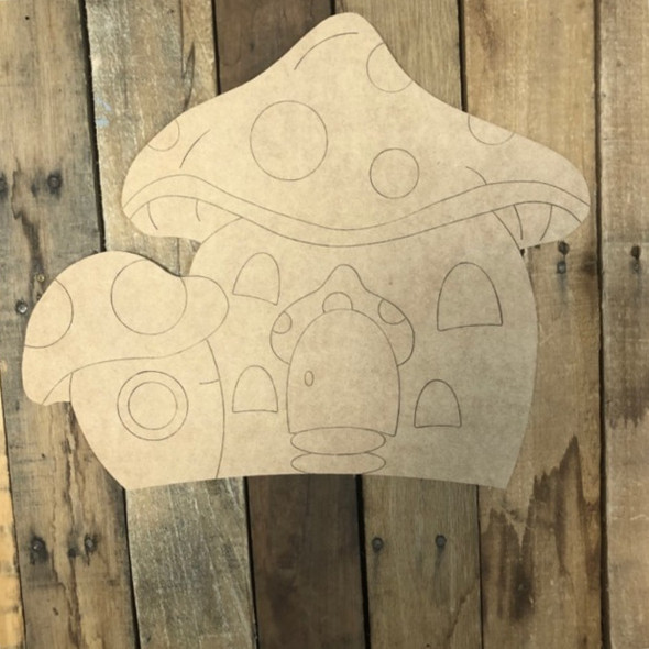 Double Gnome House, Wood Cutout, Shape Paint by Line
