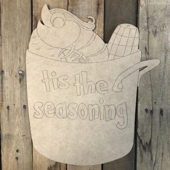 Shrimp Seasoning Pot, Wood Cutout, Shape Paint by Line