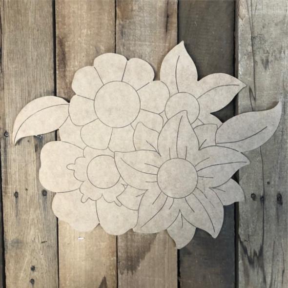 Pile of Flowers Blank Shape, Wood Cutout, Shape Paint by Line