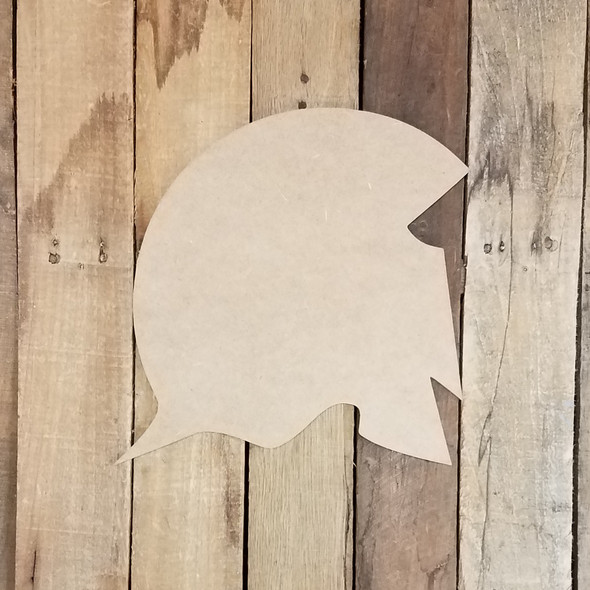 Spartan Helmet Wooden Shape, Paintable Wooden MDF