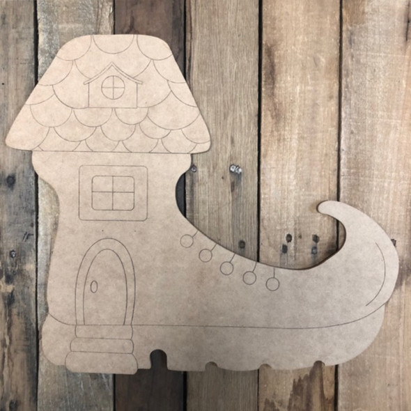 Gnome Boot House, Wood Cutout, Shape Paint by Line