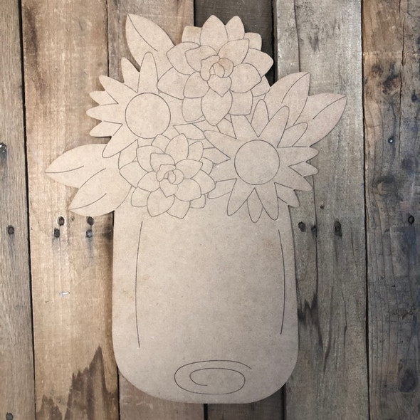 Succulent Flowers in Jar Spring Shape, Wood Cutout,  Paint by Line