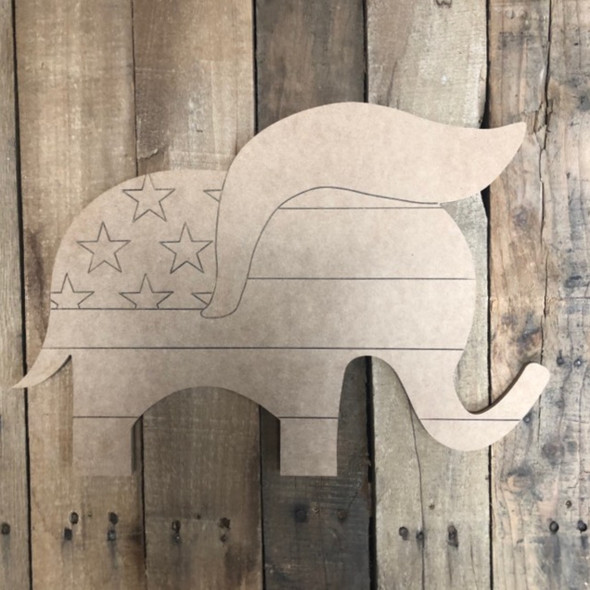 Elephant American Shape, Wood Cutout, Paint by Line