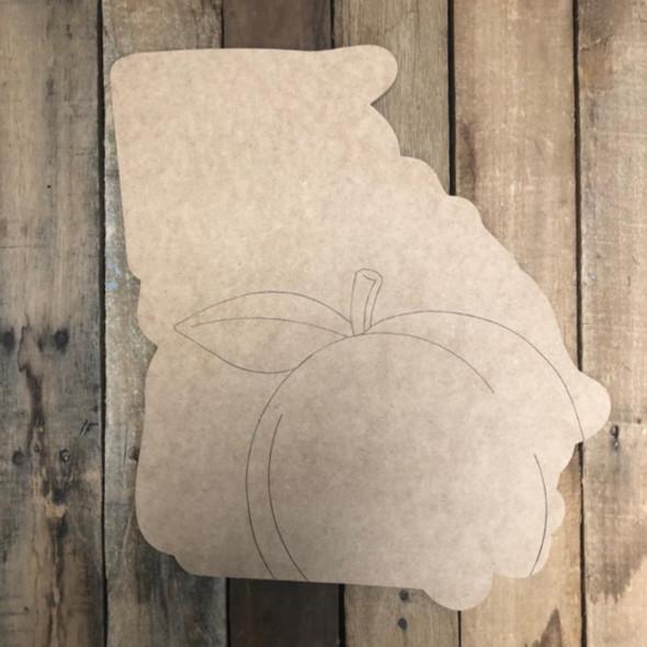 Georgia Peach Shape, Wood Cutout, Paint by Line
