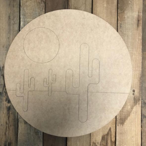 3 Cactus Desert Circle Shape, Wood Cutout, Paint by Line