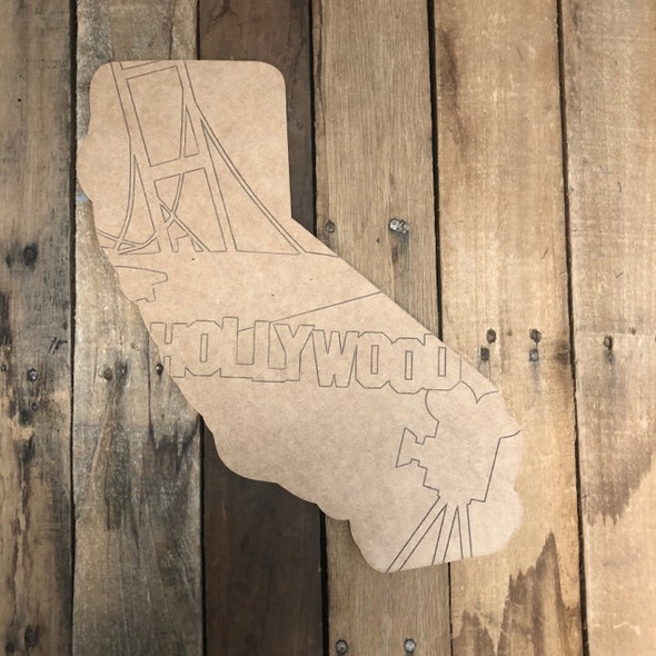 California Hollywood State Shape, Wood Cutout, Paint by Line