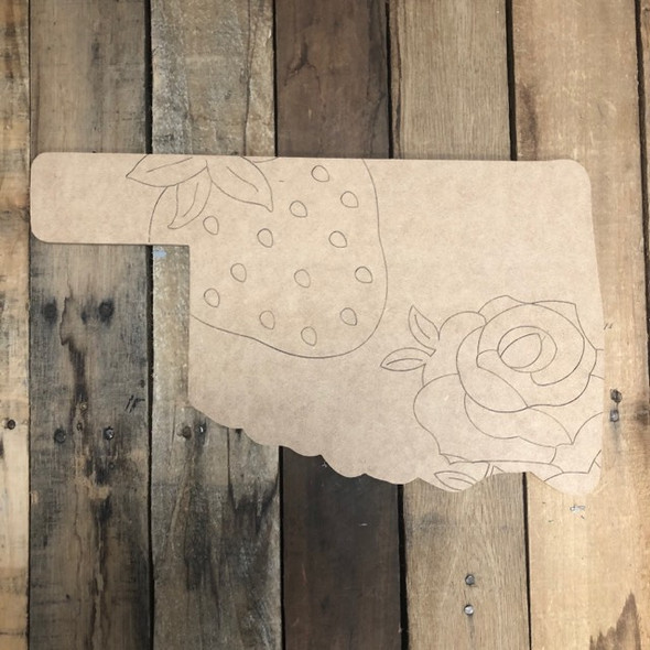 Oklahoma Strawberry Cutout, Unfinished Wall Decor Paint by Line