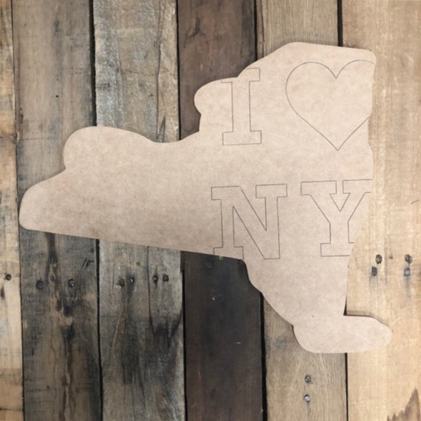 I Love New York State Cutout, Unfinished Wall Decor Paint by Line