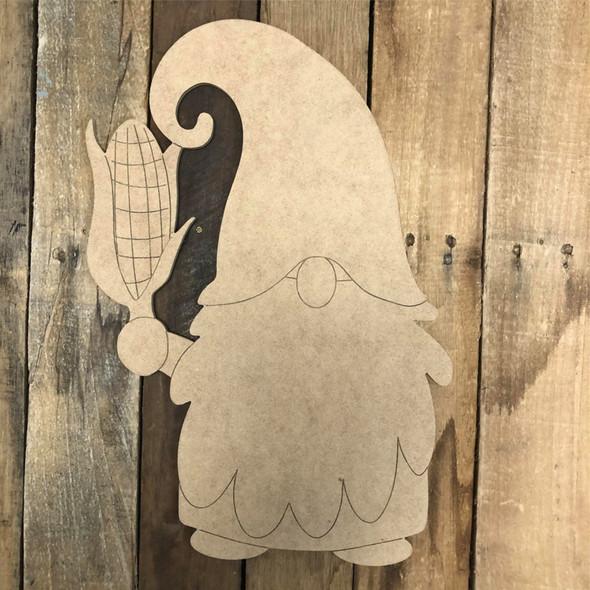 Gnome Holding Corn Cutout Wall Art, Wood Cutout, Paint by Line