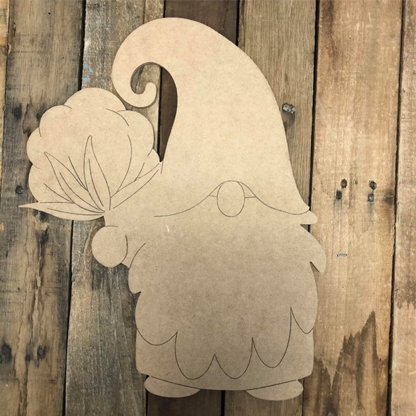 Gnome Holding Cotton Cutout Wall Art, Wood Cutout, Paint by Line