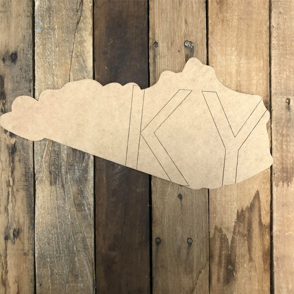 Kentucky KY State Wood Cutout, Unfinished Wall Decor Paint by Line