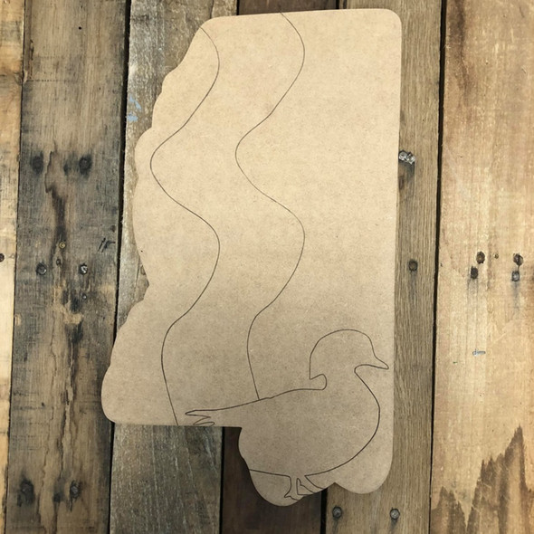 Mississippi Duck State Wood Cutout, Unfinished Wall Decor Paint by Line