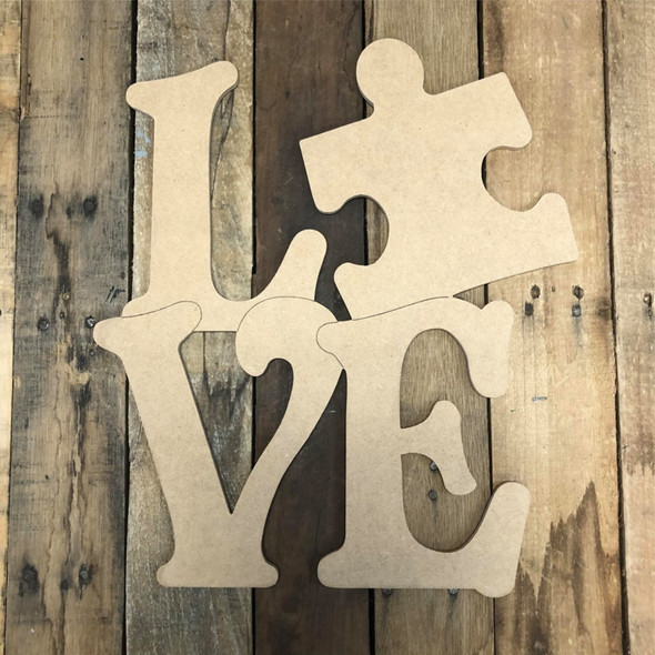 LOVE with Puzzle Wood Cutout, Unfinished Wall Decor Paint by Line